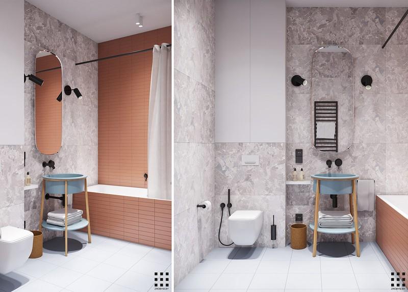 Tường giật cấp dùng để phân chia hợp lý hai khu vực nhà vệ sinh và bồn rửa tay.