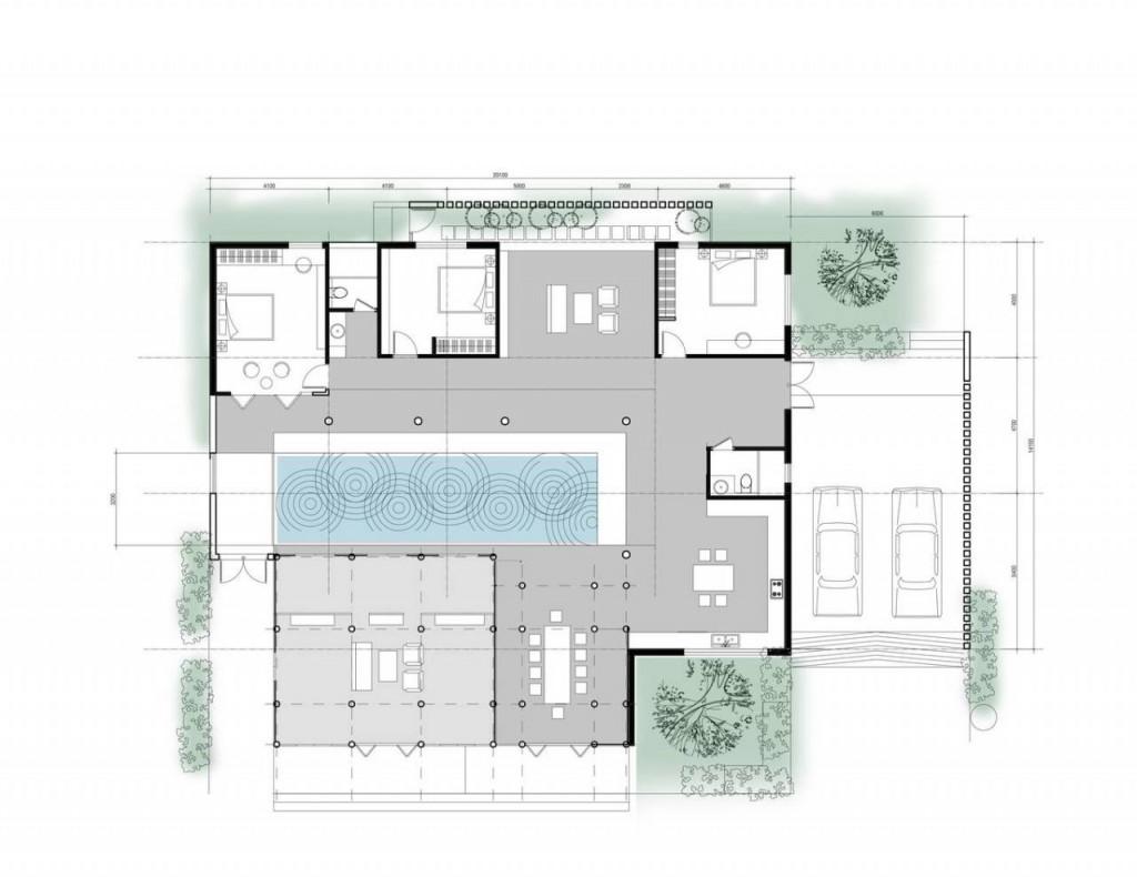 Bản vẽ mặt bằng ngôi nhà của G+ Architects.