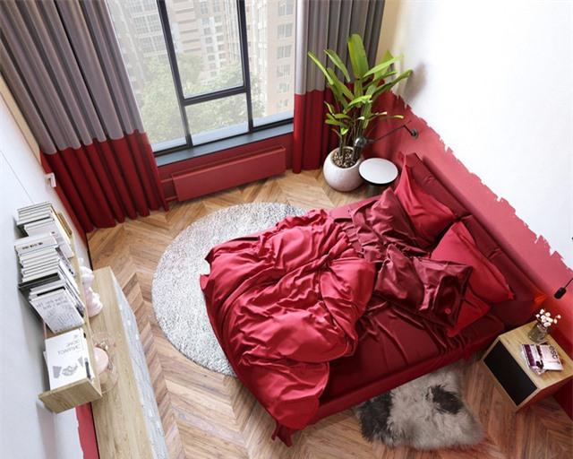 Thông qua cách chọn màu sắc mà căn phòng được phân chia thành hai phần riêng biệt.