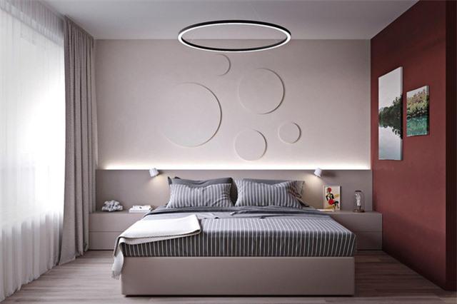 Nếu không thích trang trí đầu giường bằng màu đỏ, hãy thử chuyển trọng tâm sang một bức tường liền kề.