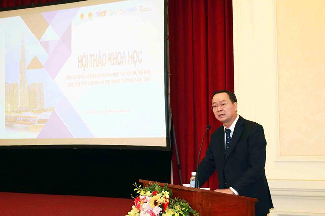 Viện trưởng Viện Kinh tế xây dựng Lê Văn Cư - Phó Trưởng ban Thường trực Ban Chỉ đạo BIM phát biểu tại khóa đào tạo