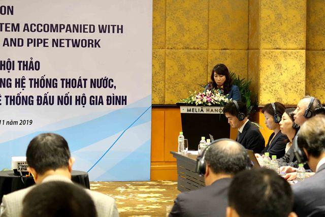 Cục trưởng Cục Hạ tầng kỹ thuật Mai Thị Liên Hương phát biểu tại Hội thảo