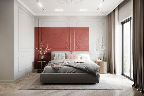 Không nhất thiết phải trang trí toàn bộ căn phòng bằng màu đỏ, đôi khi bạn chỉ cần sơn một phần ở đầu giườnug cũng đủ mang năng lượng vào phòng.