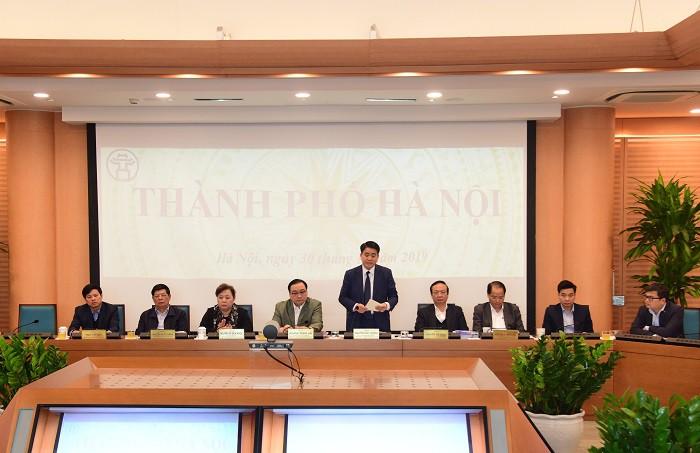 Chủ tịch UBND TP. Hà Nội Nguyễn Đức Chung phát biểu tại điểm cầu Hà Nội