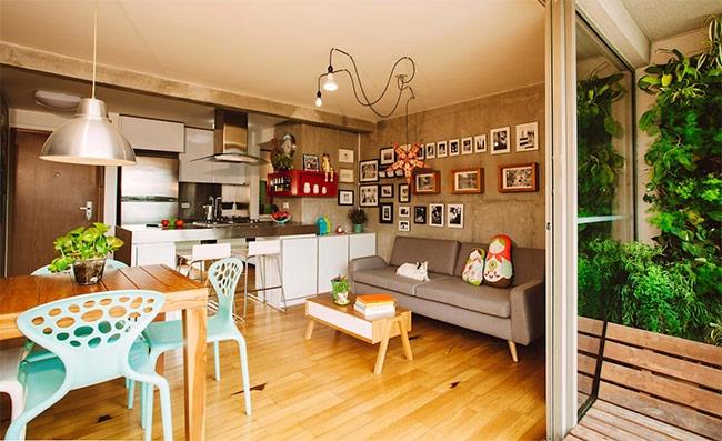 Tổng quan đồ vật hay sàn nhà đều có màu ấm, đây là điểm tạo ra sức thu hút cho căn phòng