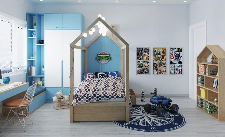 Giường của bé được thiết kế như 1 ngôi nhà nhỏ nổi bật ở vị trí trung tâm, nhấn nhá thêm bởi hệ thống đèn hiện đại càng làm nổi bật cá tính riêng của các bé