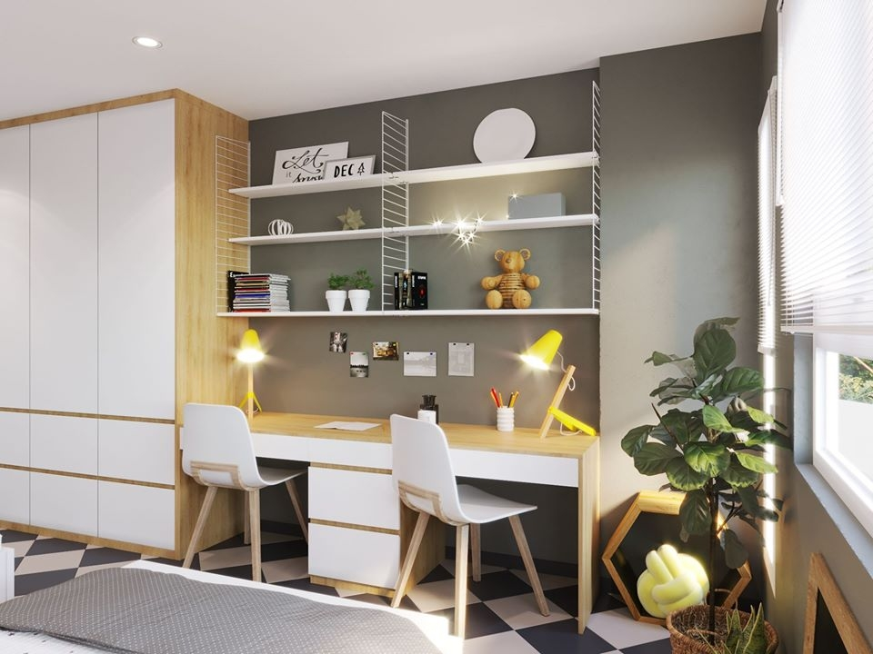 Góc học tập bên cạnh cửa số được bày trí gọn gàng, ngăn nắp khiến không gian phòng tràn ngập ánh sáng, tươi mát