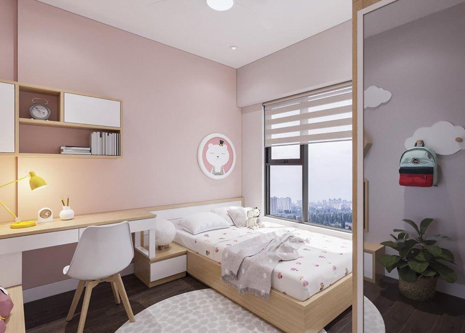 Phòng ngủ được tô điểm bởi gam màu hồng nữ tính càng tôn lên nét thục nữ, dịu dàng của người con gái