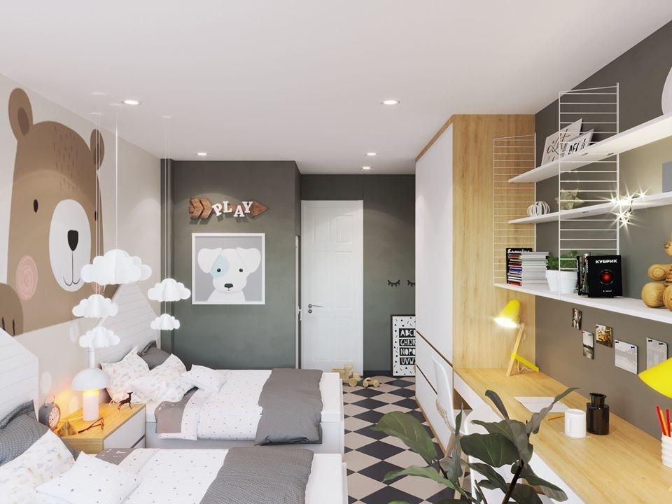 Phòng ngủ của bé được thiết kế với nhiều gam màu tươi tắn, nổi bật là hình ảnh chú gấu dễ thương, gần gũi với cuộc sống trẻ thơ