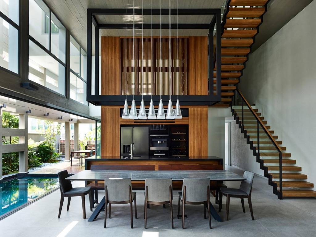 Phòng ăn và gian bếp phong cách hiện đại, đồ nội thất đơn giản từ màu sắc đến kiểu dáng nhưng cho cảm nhận tinh tế, hài hòa