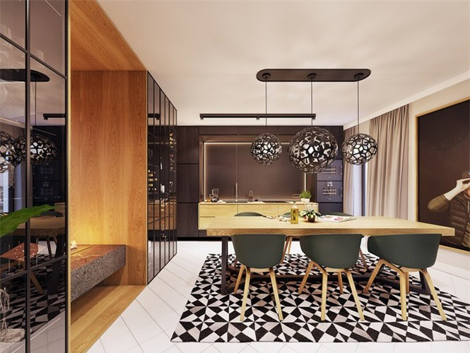 Phòng ăn nổi bật với những tông màu của gỗ, kích thích cảm giác ngon miệng.