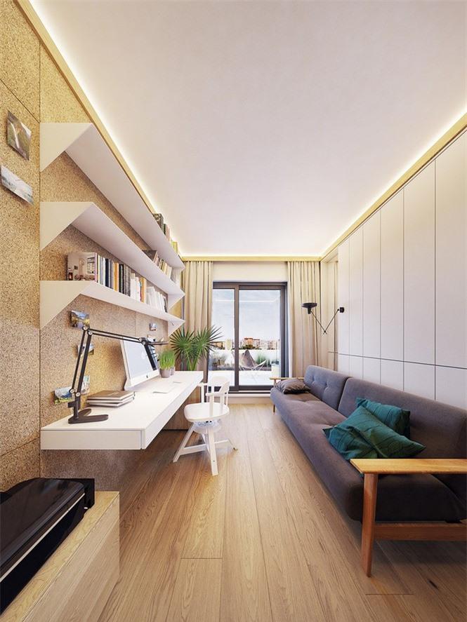 Vì bị hạn chế về diện tích nên phòng làm việc ít dùng màu sắc nổi bật để trang trí hơn.