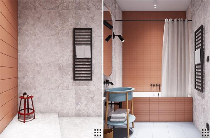 Trắng, hồng và xanh pastel tiếp tục là chủ đề chính trong phòng tắm