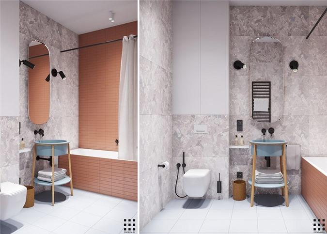 Tường giật cấp dùng để phân chia hợp lý hai khu vực nhà vệ sinh và bồn rửa tay
