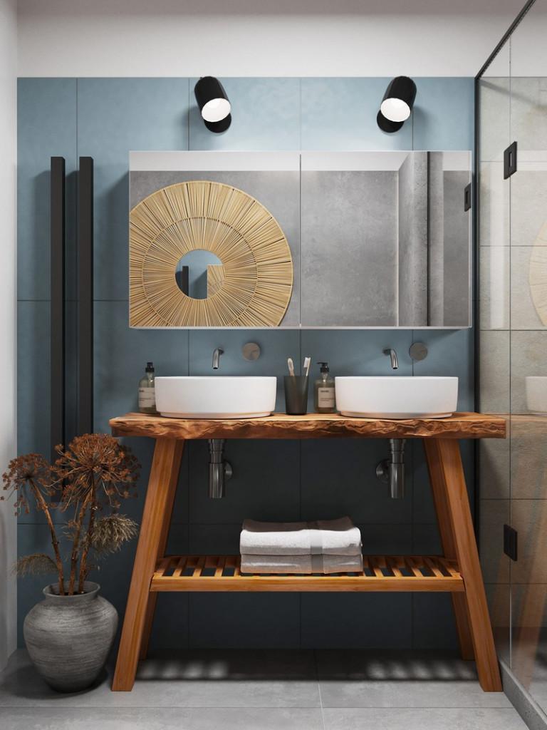 Kệ gỗ mang đến cảm giác bồng bềnh và nhẹ nhàng cho nhà tắm