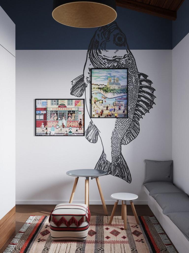 Trang trí tường cho phòng trẻ em mang đầy màu sắc, vui vẻ