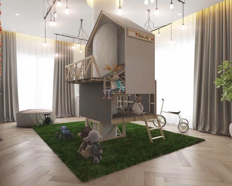 Ngôi nhà mô hình gồm ba tầng, với các phòng riêng và sàn mở để tạo điều kiện cho tất cả các trò vui chơi của bé