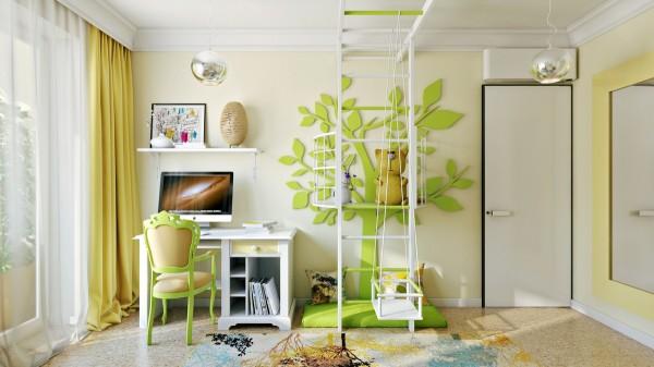 Phòng sử dụng màu xanh lá cây mang đến cảm giác yên bình, dễ chịu để bé dễ tập trung học bài hơn