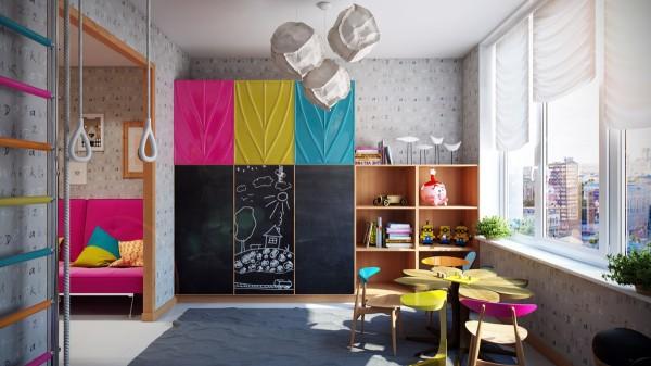 Sử dụng màu sắc cũng là một cách trang trí khá hiệu quả đối với phòng trẻ em
