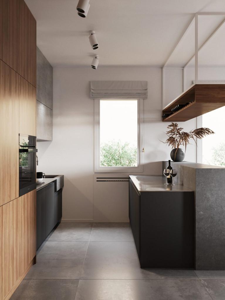 Gỗ, kim loại và bê tông…hoàn hảo để diễn tả một căn bếp theo phong cách tối giản nhưng sang trọng