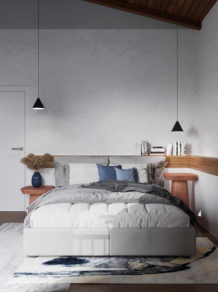 Kệ đầu giường và đèn khác độ cao tạo điểm nhấn cho khu vực phòng ngủ