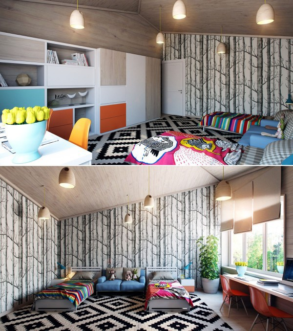 Không mất quá nhiều thời gian để các bé có thể tưởng tượng về một rừng cây nhiệt đới ngay trước mắt nhờ giấy dán tường đặt hai bên giường ngủ