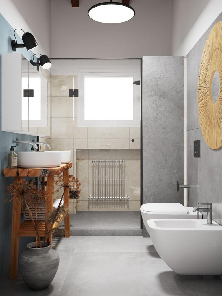 Hoa khô khiến phòng tắm trở nên mềm mại và có sức hút hơn