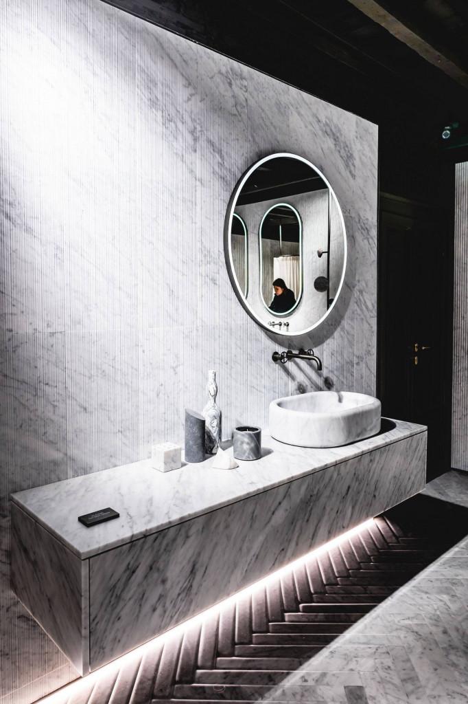 Bồn rửa mặt trông sạch sẽ hơn với đá Marble