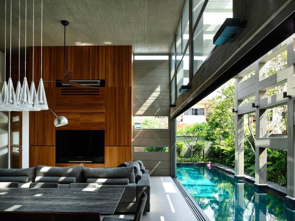 Các không gian chức năng hưởng trọn vẹn các yếu tố tự nhiên nhờ đặt gần bể bơi và hệ thống cây xanh