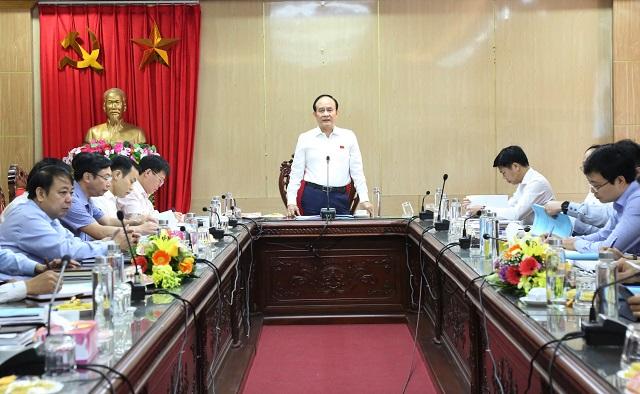 Phó Chủ tịch Thường trực HĐND TP Nguyễn Ngọc Tuấn phát biểu tại buổi giám sát huyện Thạch Thất