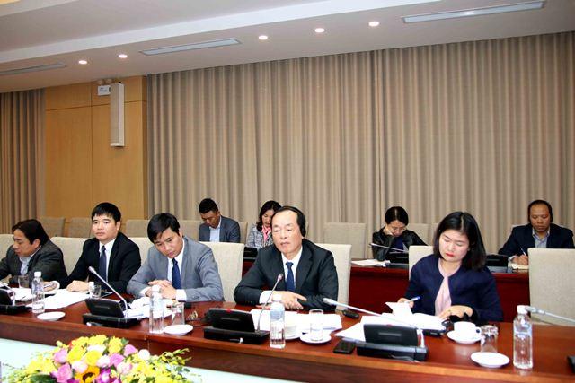 Bộ trưởng Phạm Hồng Hà phát biểu tại buổi làm việc