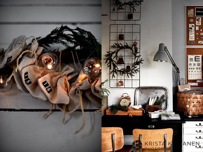Nếu không thể có được cây thông Noel trang hoàng hãy thử vòng hoa kết từ cành thông trang trí ngay bàn làm việc