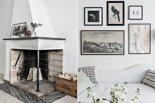 Trang trí một chút tranh ảnh trên tường trắng xinh xắn