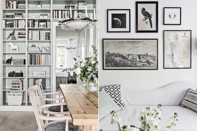 Giá sách làm cho không gian căn hộ sáng bừng đẹp mắt