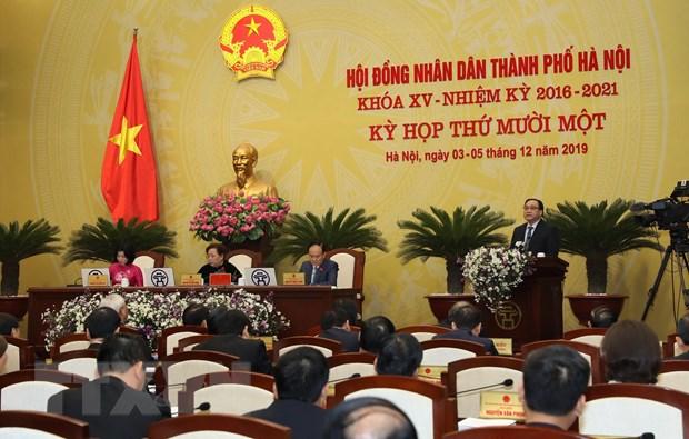 Ủy viên Bộ Chính trị, Bí thư Thành ủy Hoàng Trung Hải, Trưởng đoàn đại biểu Quốc hội Thành phố Hà Nội phát biểu chỉ đạo. (Ảnh: Lâm Khánh/TTXVN)