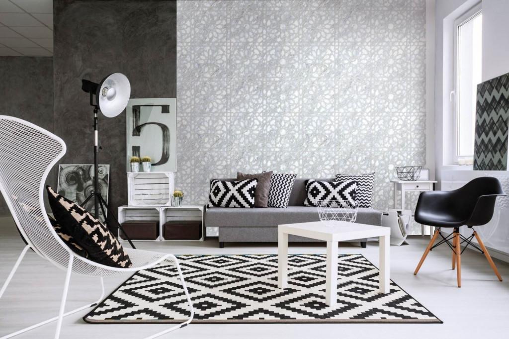 Giấy dán tường đem lại cảm hứng khác biệt cho phong cách hiện đại với hai màu chủ đạo đen - trắng