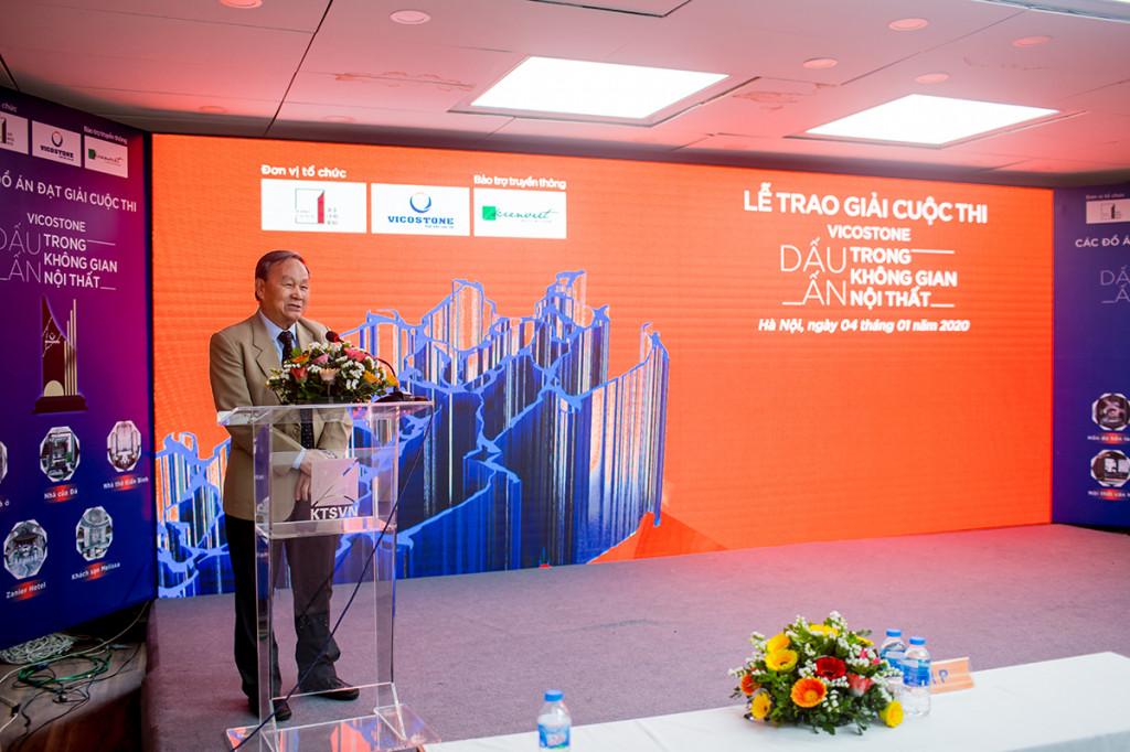 KTS Nguyễn Tấn Vạn – Chủ tịch Hội KTS Việt Nam phát biểu trong lễ trao giải