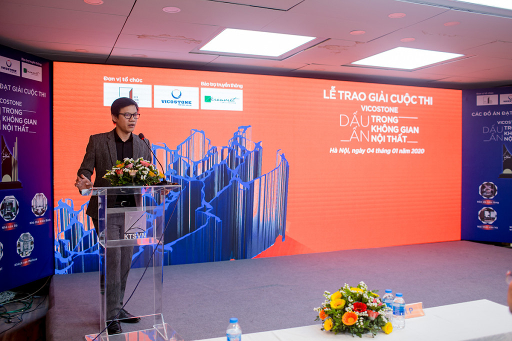 TS vật liệu Phạm Anh Tuấn – TGĐ Vicostone – thành viên BGK phát biểu trong lễ trao giải