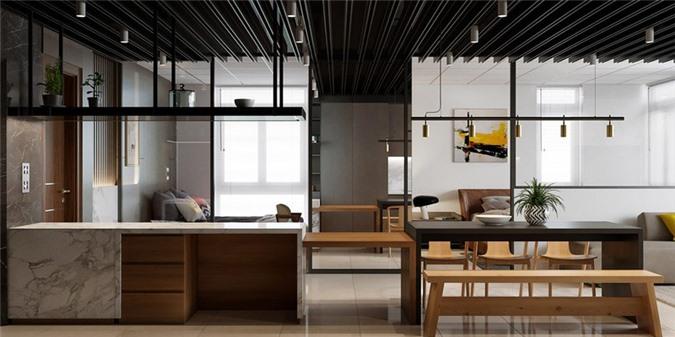 Kệ mở tăng thêm diện tích lưu trữ cho khu vực nhà bếp