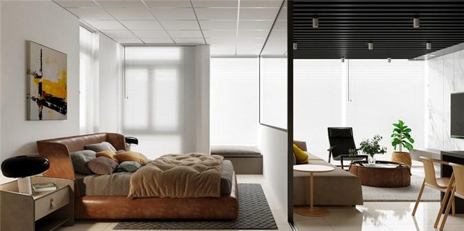 Thiết kế phòng ngủ sử dụng kính ốp tường, giúp toàn bộ căn hộ có cảm giác rộng rãi và nhẹ nhàng hơn