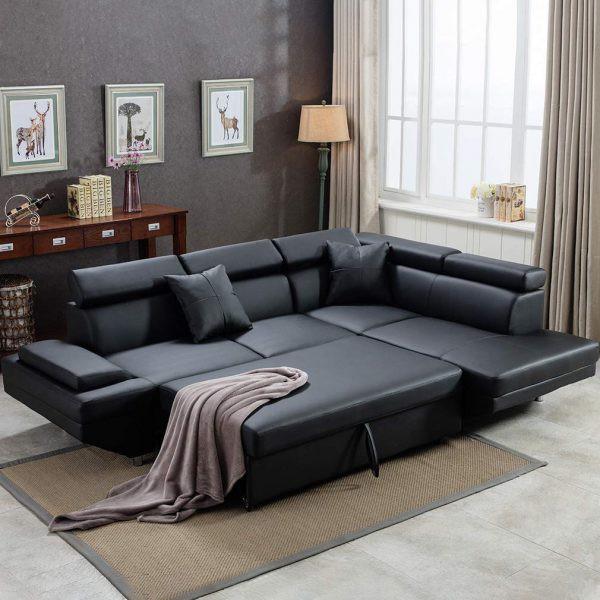 Ghế sofa da có tựa đầu và chân ghế có thể điều chỉnh, nhanh chóng trở thành một chiếc giường ngủ thoải mái mỗi khi có khách