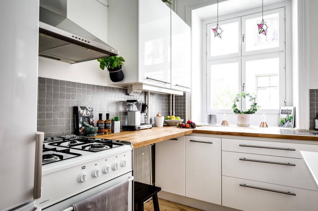 Khu vực nấu nướng xanh tươi và sáng sủa, cực bắt mắt