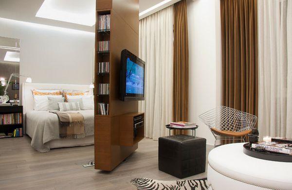 Tường treo TV kiêm tủ sách thông minh giúp tiết kiệm diện tích