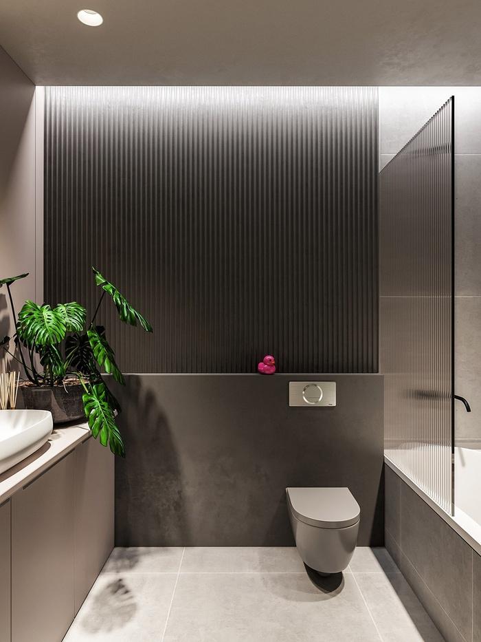Phòng tắm hiện đại, tiện nghi với sự xuất hiện của một chiếc bồn tắm cỡ vừa
