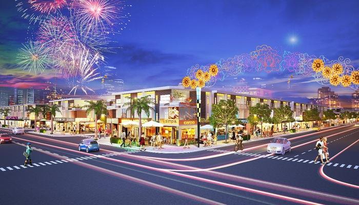 Phối cảnh Phố thương mại Lộc Phát sẽ trở thành trung tâm mua sắm, kinh doanh sầm uất tại khu vực Bến Cát, Bàu Bàng