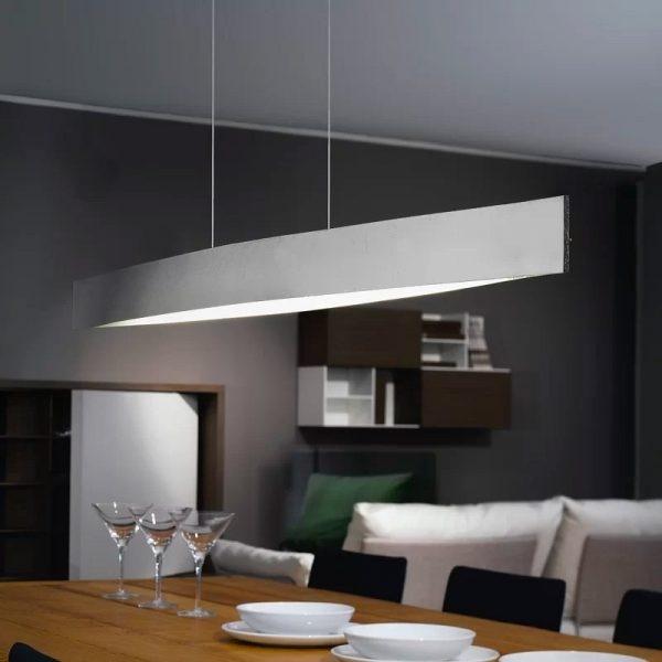 hiết kế đèn treo tuyến tính này tương đối đơn giản, gợi hình. Đèn treo tuyến tính này cung cấp đủ ánh sáng cần thiết cho bàn ăn nhà bạn.