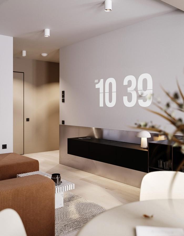 Màn hình TV lớn, gắn sát tường tạo không gian rộng rãi hơn cho phòng khách