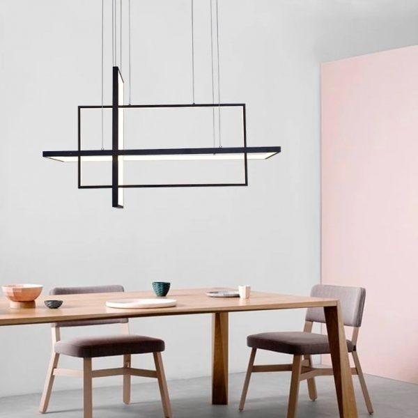 Một mẫu đèn treo tuyến tính khá kiểu cách, hiện đại dành cho không gian phòng ăn rộng.