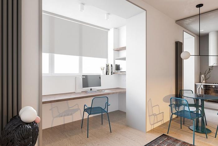 Không gian làm việc của chủ nhà được bố trí cạnh cửa sổ.