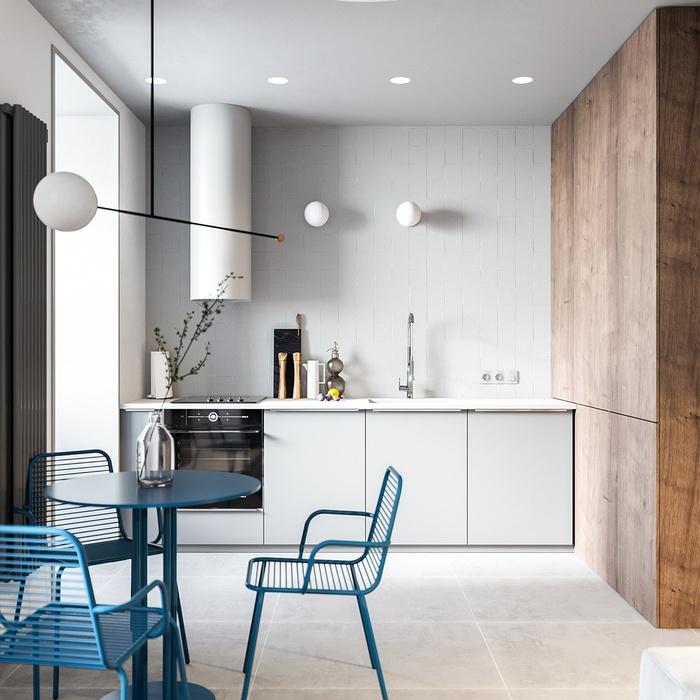 Không gian bếp tươi sáng với gam màu trắng làm chủ đạo